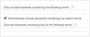 Google Keyword Planner: Automatically include keywords containing my search terms