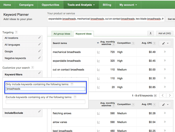 Google Keyword Planner: Include/Exclude Feature