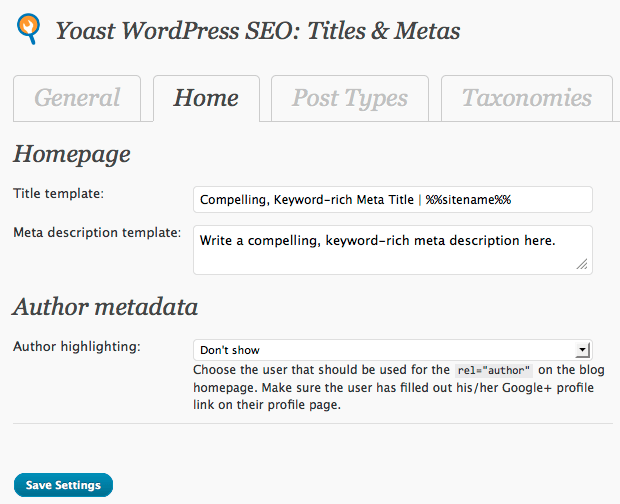 Home Meta Data (Guide to Yoast WordPress SEO Plugin)