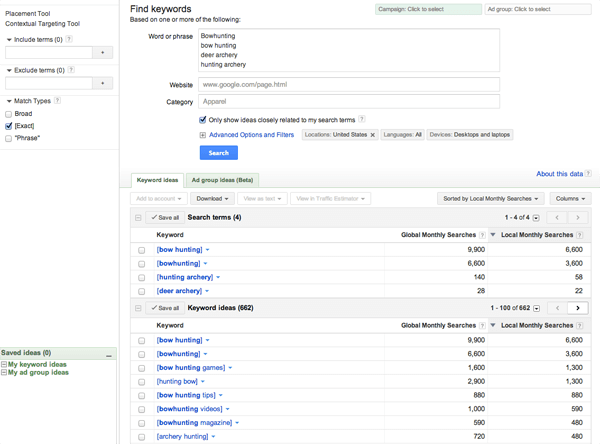 Original Google AdWords Keyword Tool