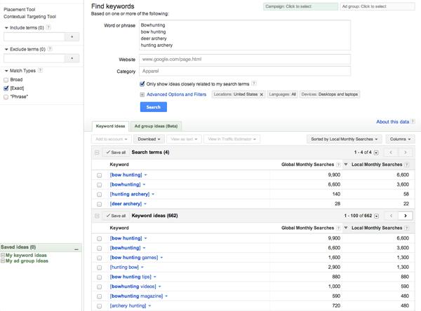 Original Google AdWords Keyword Tool