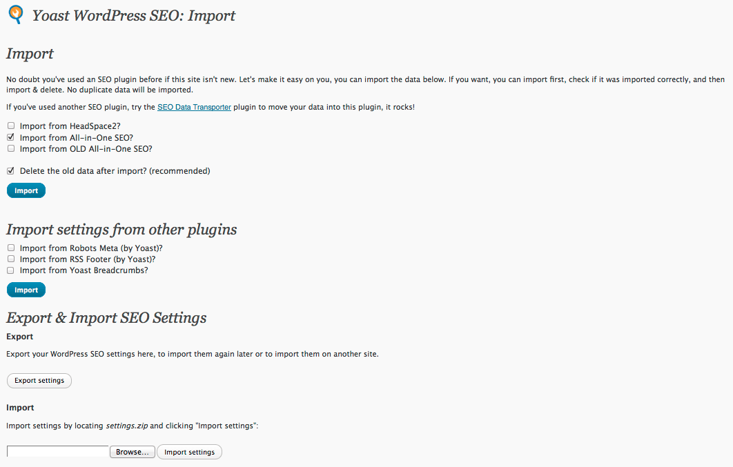 Import, Export, Migrate to the Yoast WordPress SEO Plugin